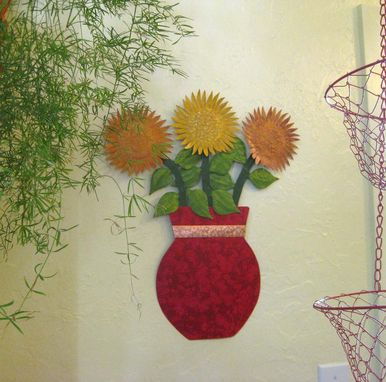 Custom Made Metal Sunflower Wall Art Sculpture Floral Art Home Wall Decor Vase