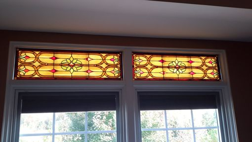 Custom Made Stained Glass Transom - Victorian Ribbons & Flowers (Tw-46)