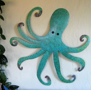 Custom Made Large Metal Octopus Wall Sculpture Ocean Wall Decor Teal Aqua Blue 30 X 30 Beach House Wall Art