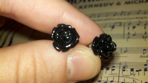 Custom Made Sale Black Rose Cabochon Post Earrings, Ready To Ship, Buy 2 Get 1 Free