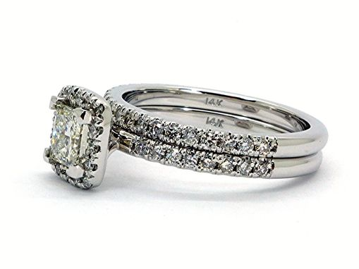 Custom Made Princes Cut Halo Engagement Ring With Matching Band