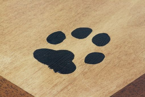 Custom Made Dog House End Table With Inlaid Paw Print