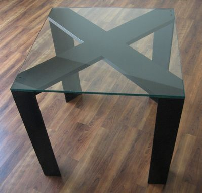 Custom Made Unique X Style End Table With Glass Top Modern