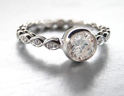 Custom Made White Sapphire Diamond & 14k White Gold Engagement Ring