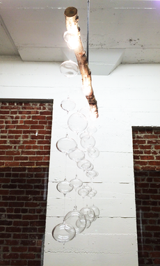 Custom Made Bubble Hand Blown Glass & Birch Wood Chandelier