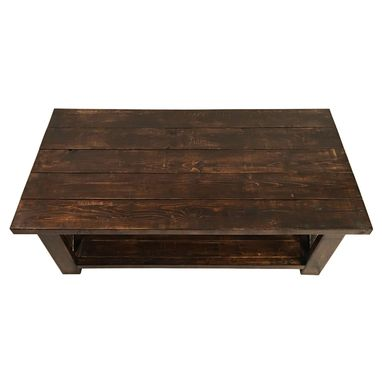 Custom Made Rustic Farmhouse Coffee Table - Country Modern Stained Solid Wood