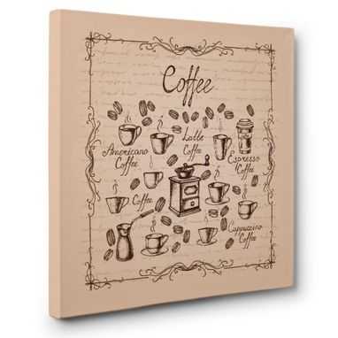 Custom Made Vintage Coffee Sign Canvas Wall Art