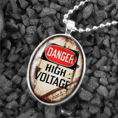 Custom Made Danger High Voltage Sign Sterling Silver Necklace 343-Son