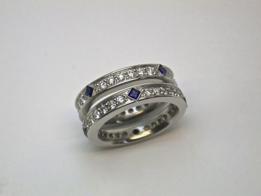 Custom Made Diamond And Sapphire Ring - Art Deco Style