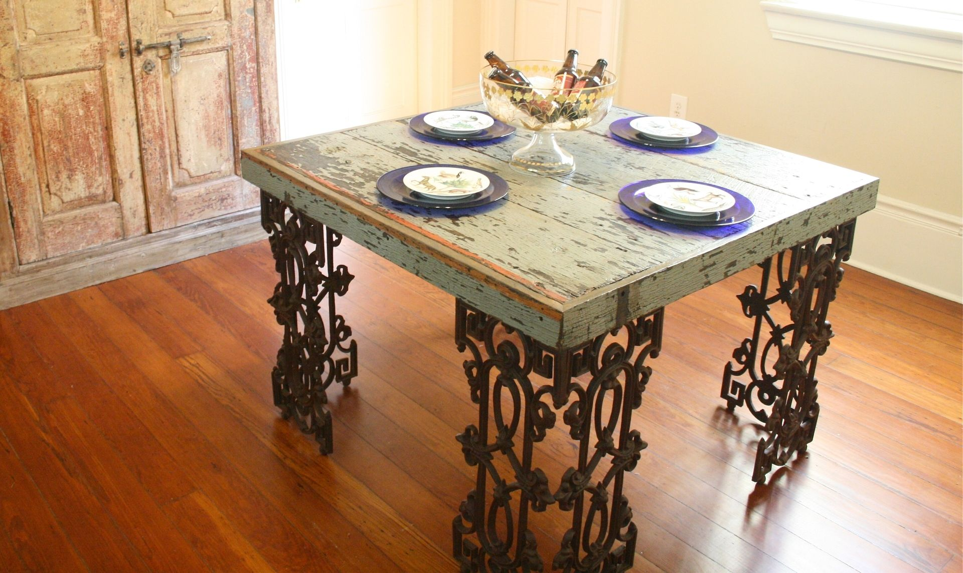 Custom Made New Orleans Dining Room Table From Distressed Wood And Wrought Iron