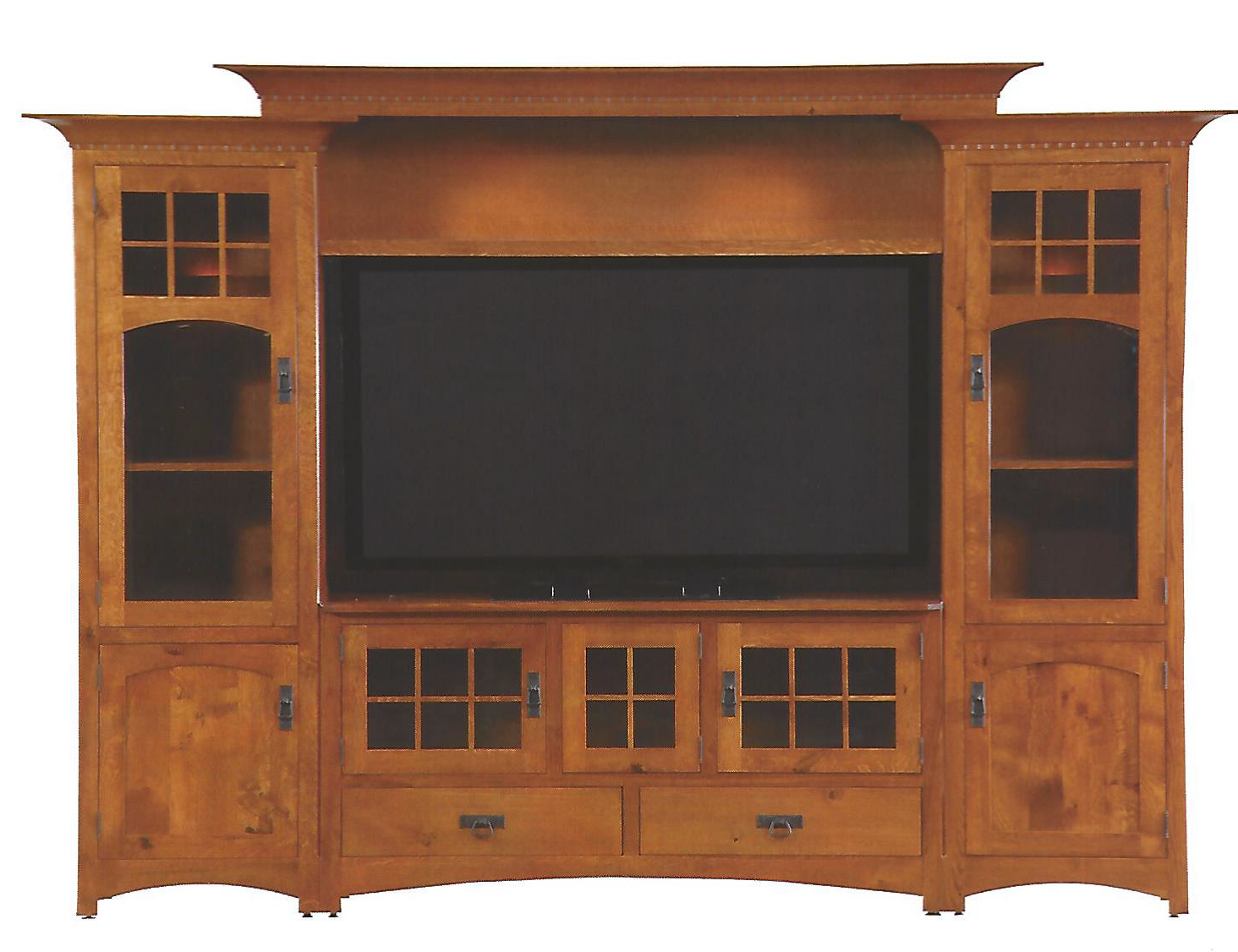 Handmade winchester bridge wall unit entertainment center in rustic quartersawn white oak by Wooden entertainment center furniture