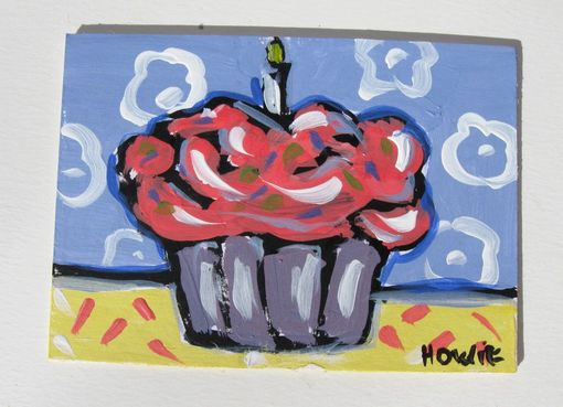 Custom Made Cupcake Aceo Original Acrylic Painting