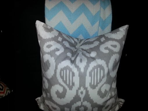 Custom Made 24 X 24 Square Pillow - Grey And Off-White Ikate Design