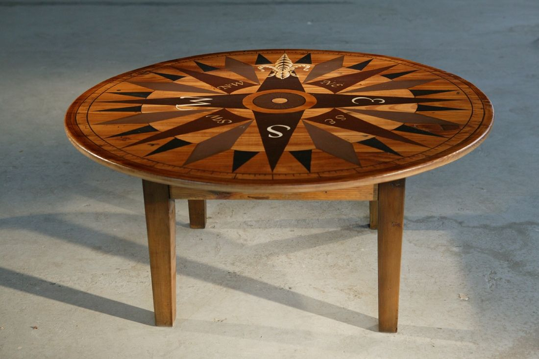 Handmade Hand Painted Compass On Coffee Table By Ecustomfinishes Reclaimed Wood Furniture