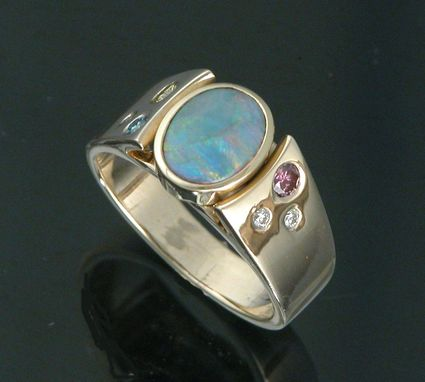 Custom Made 14kt Yellow Gold Opal With .18cttw Pink, Green And Yellow Diamonds.