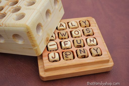 Custom Made Wooden Boggle Game, 4x4 Handcrafted Board, Family Word Play
