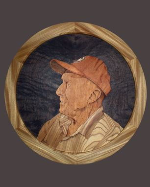 Custom Made Marquetry Portrait Of Frank Knight At 101