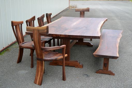 Custom Made Live Edge Walnut Dining Set