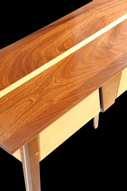 Custom Made Floating Capstone Table Of Sapele And Maple