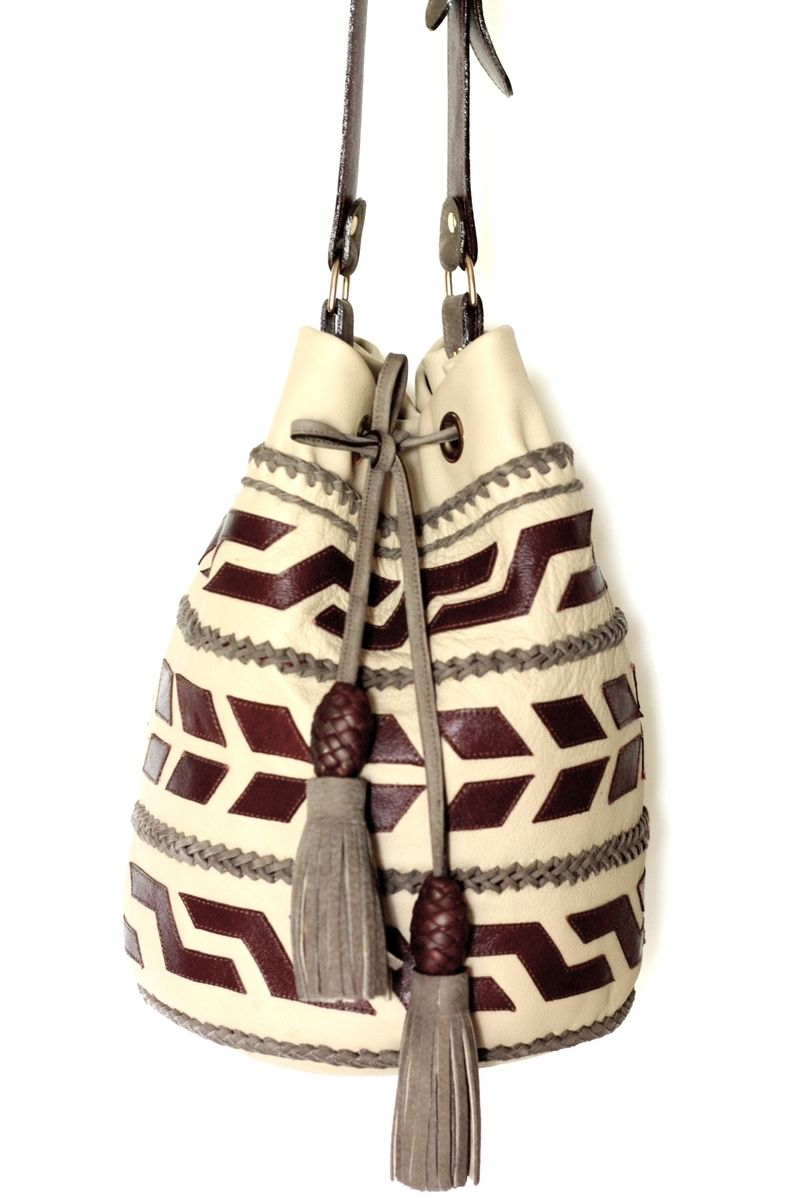 Custom Made Mochila Arhuaco Leather Crossbody Bag In A Traditional Colombian Style