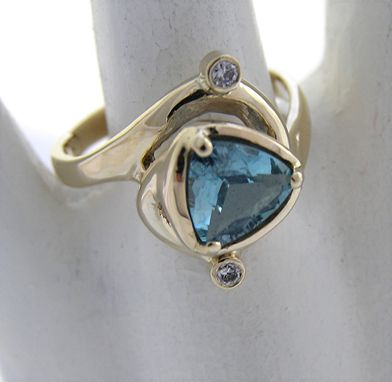 Custom Made Aquamarine Ring In 14k Yellow Gold - Handmade Unique Sculptural Design