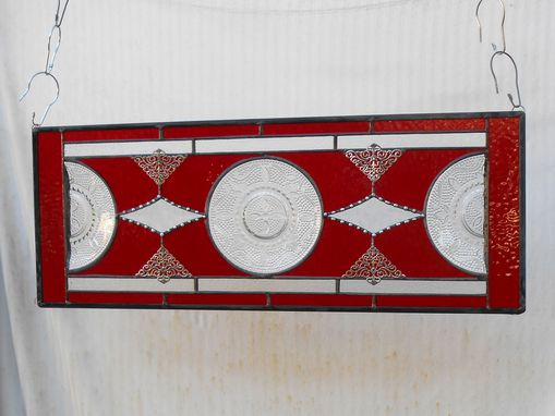Custom Made Depression Glass Plate Valance, Antique Stained Glass Transom Window, Federal Glass Heritage Pattern