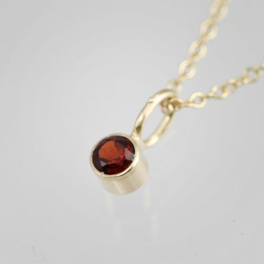 Custom Made Garnet Drop Pendant 14ky Gold