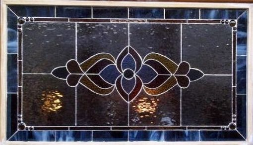 Custom Made Matching Stained Glass Windows --- Transom With House Number And Large Front Window (Tw-9)