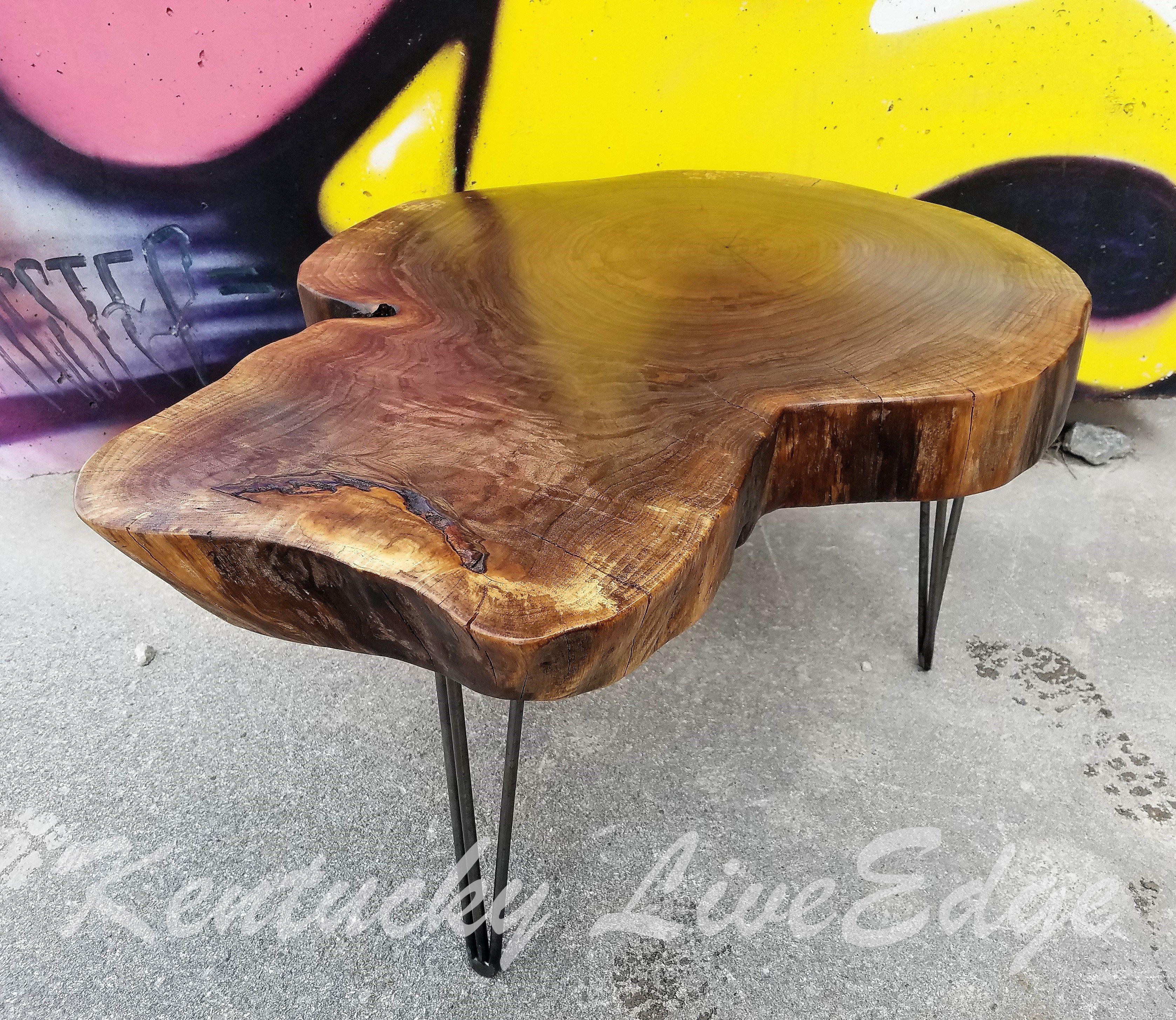 Custom Made Natural Wood Table Live Edges Log Furniture Round