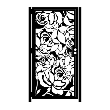 Custom Made Metal Art Gate With Roses - Rose Garden Gate - Decorative Steel Wall Panel - Custom Gate