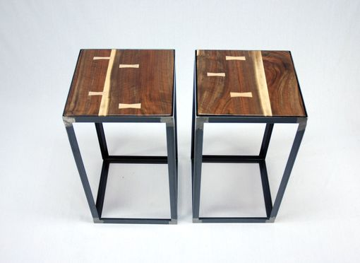 Custom Made Black Walnut Industrial End Table Set