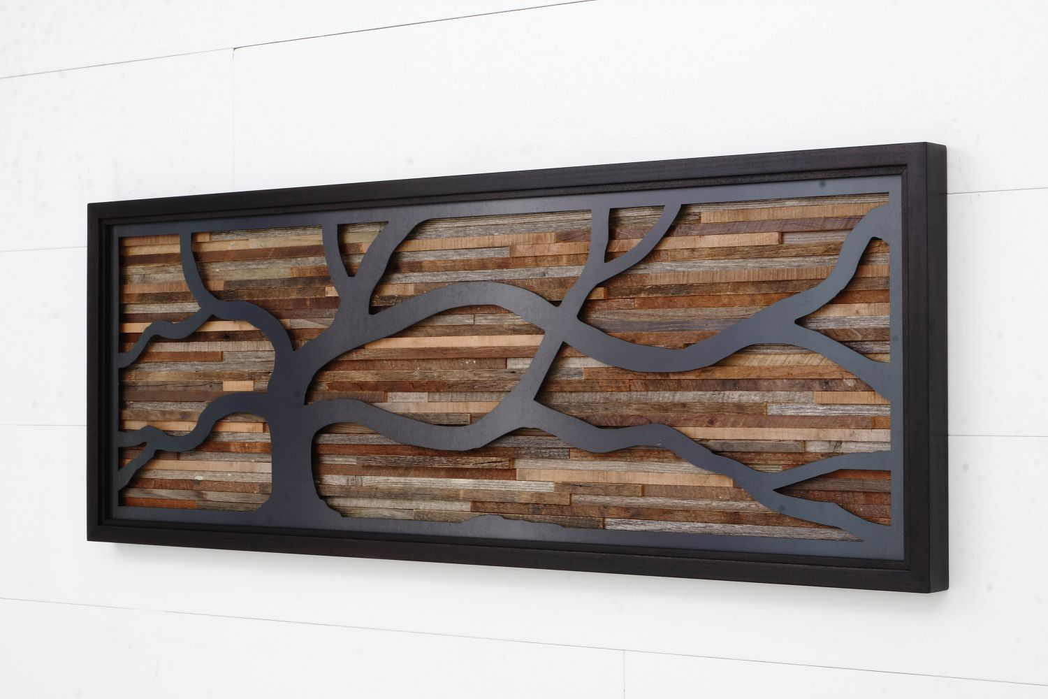 Wood Wall Art Made Of Old Barnwood And Natural Black Steel