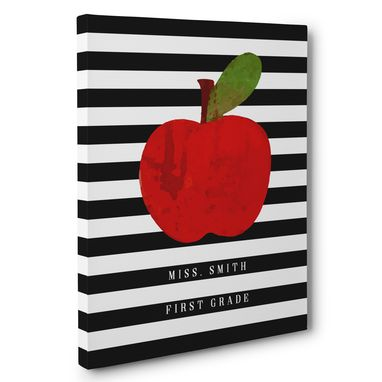 Custom Made Apple And Stripes Classroom Canvas Wall Art