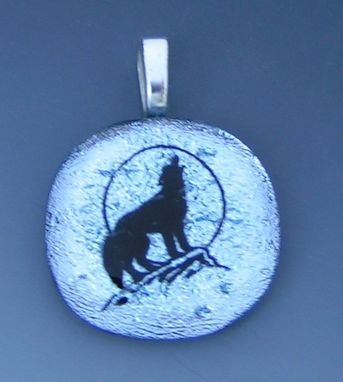 Custom Made Howling Wolf Dichroic Pendant