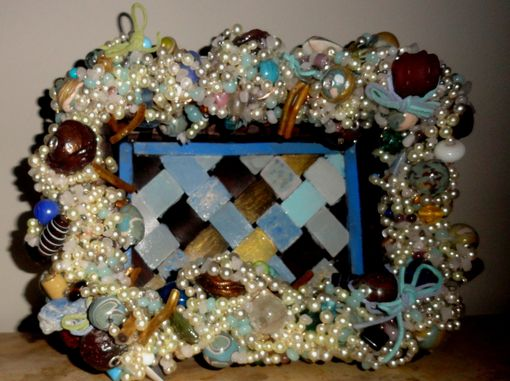 Custom Made Burnt Polymer Clay Bead Painted Decorative Wicker Tray Basket