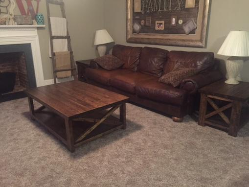 Custom Made X Style Coffee Table And End Table Set