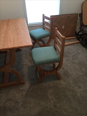 Custom Made Pedestal Dining Table With Matching Chairs