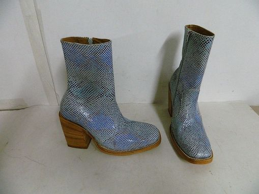 Handmade Made To Order Square Toe Boots Blue Snake Emboss