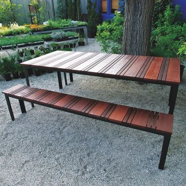 Custom Made Sol Outdoor Dining Table And Outdoor Bench Set - Powder Coated Steel Frame With Brazilian Redwood Top