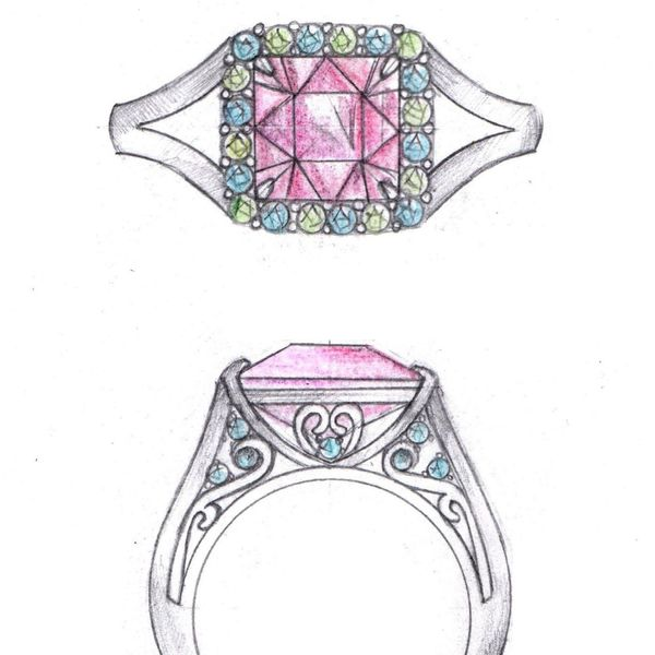 Concept sketch for a bold statement ring with a pink tourmaline center stone in a vintage-inspired setting with claw prongs.
