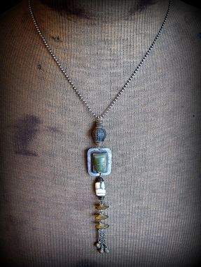 Custom Made Jade Tribal Face And Bell Pendant On Sterling Silver Ball Chain