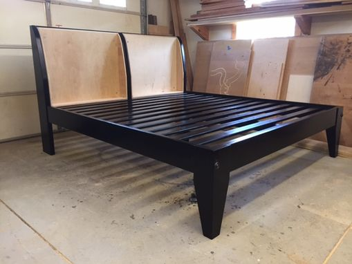 Custom Made Platform Bed With Cushioned Headboard