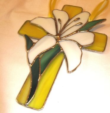 Custom Made Lily Cross Decorative Stained Glass