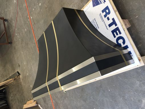 Custom Made #32 Black Range Hood With Brass And Stainless Steel Straps