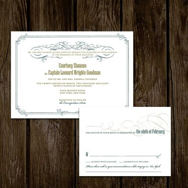 Custom Made Ornate Border Wedding Invitations