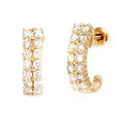 Custom Made 2 Row Diamond Semi Hoop Earrings In 14k Yellow Gold, Hoop Earrings, Diamond Earrings