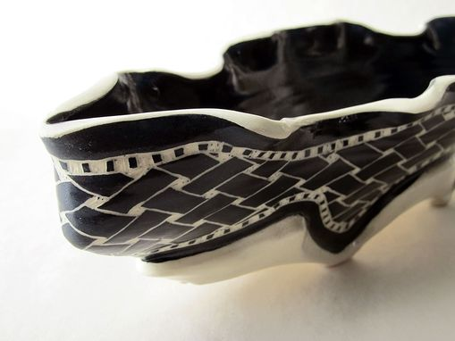 Custom Made Handmade Stoneware Serving Boat With Hand-Carved Weave Pattern
