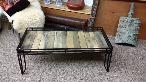 Custom Made Coffee Table With Vintage Pallet Boards, Beveled Glass Top And Three Post Hairpin Legs