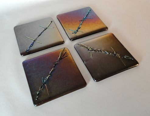 Custom Made Barbed Wire Inspired Glass Art Tiles