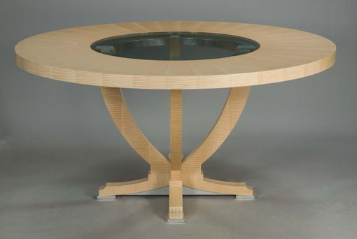 Custom Made Urn Dining Table With Center Glass Insert